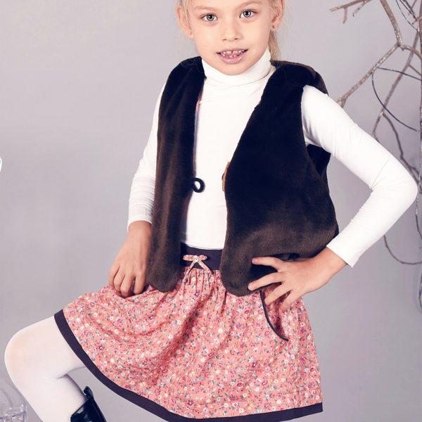 Jupe en coton liberty rose abricot avec ceinture en velours marron et poches, pour filles de 2 à 16 ans de la marque mode pour enfant LA FAUTE A VOLTAIRE