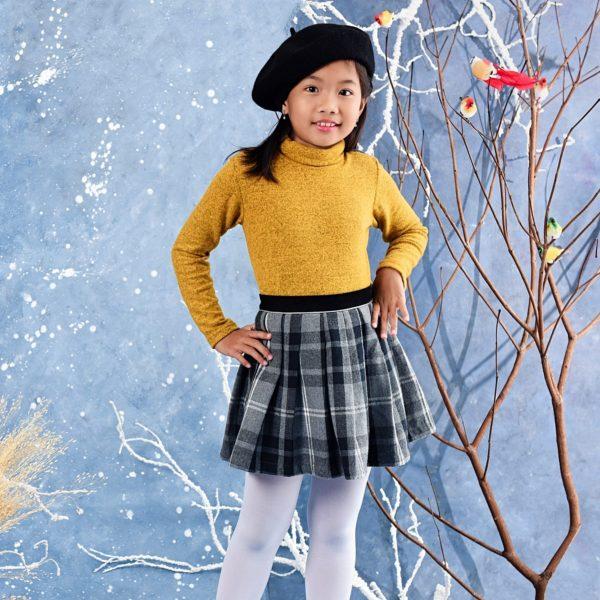 Jupe plissée écossaise en laine à carreaux tartans gris de la marque créateur française LA FAUTE A VOLTAIRE