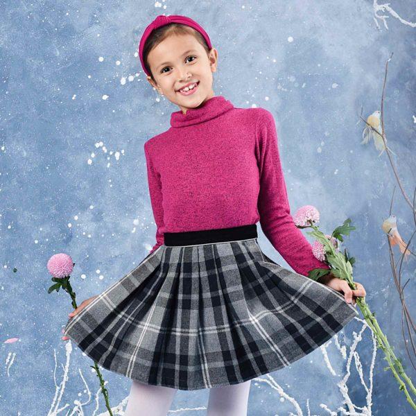 Sous-pull col roulé rose fuchsia en coton lainé chiné de la marque créateur française LA FAUTE A VOLTAIRE